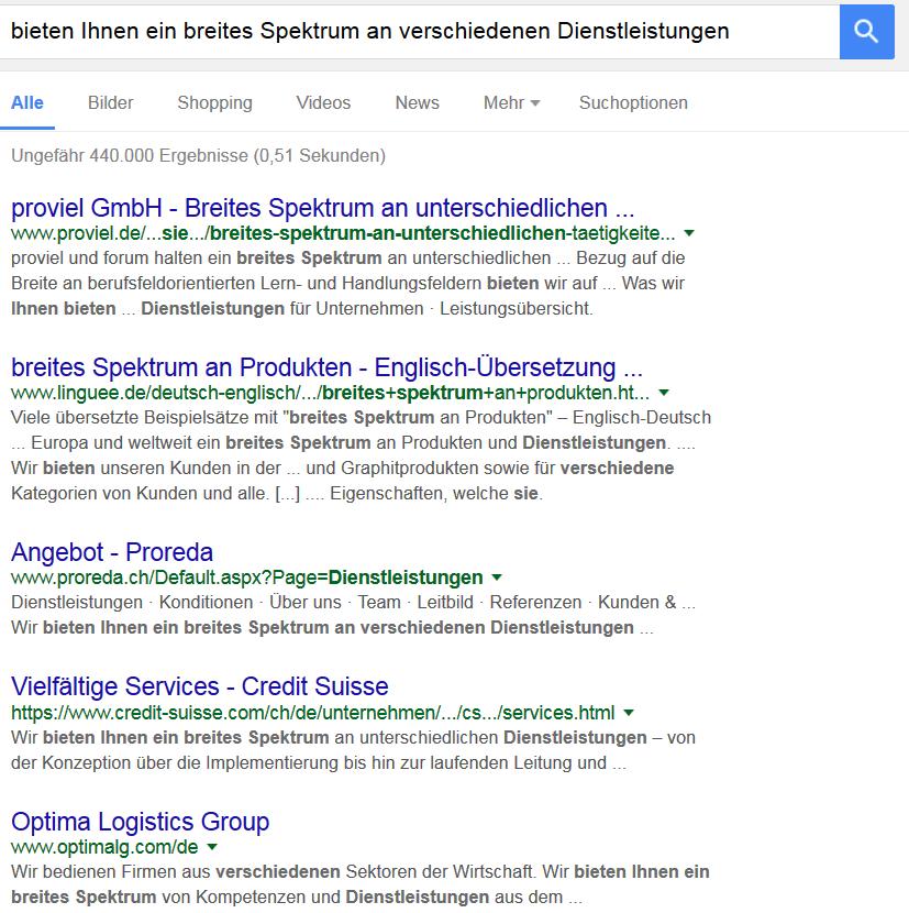 Suchergebnisse für Phrasen zum individuellen Kundennutzen