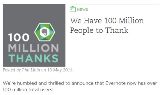 Nutzerzahlen Evernote