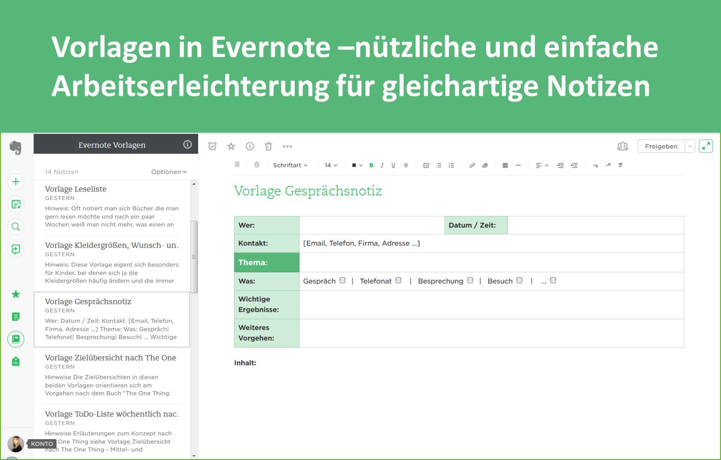 Vorlagen in Evernote - nützlich und einfach für gleichartige Notizen