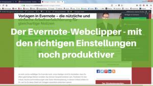 Die richtigen Einstellungen für den Evernote Webclipper