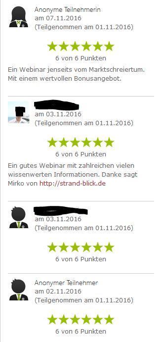 Bewertungen Webinar Breit oder Nische