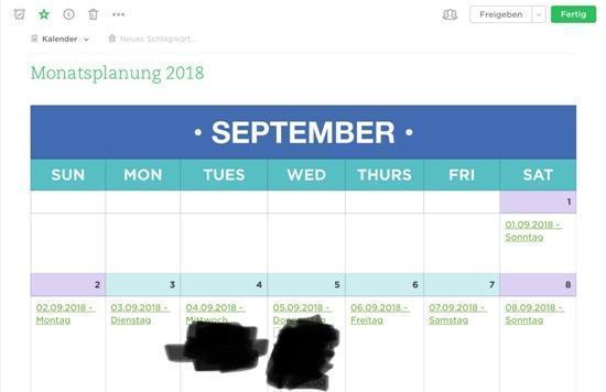 Evernote als Kalender - Monatsplanung
