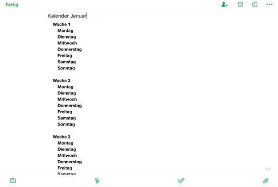 Evernote als Kalender - einfache Tagesplanung