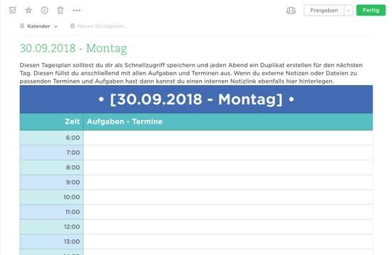 Evernote als Kalender - Tagesplanung